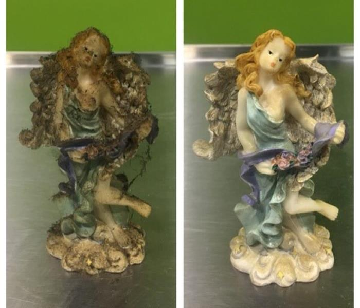 porcelain statue damaged by soot before and after ultrasonic cleaning